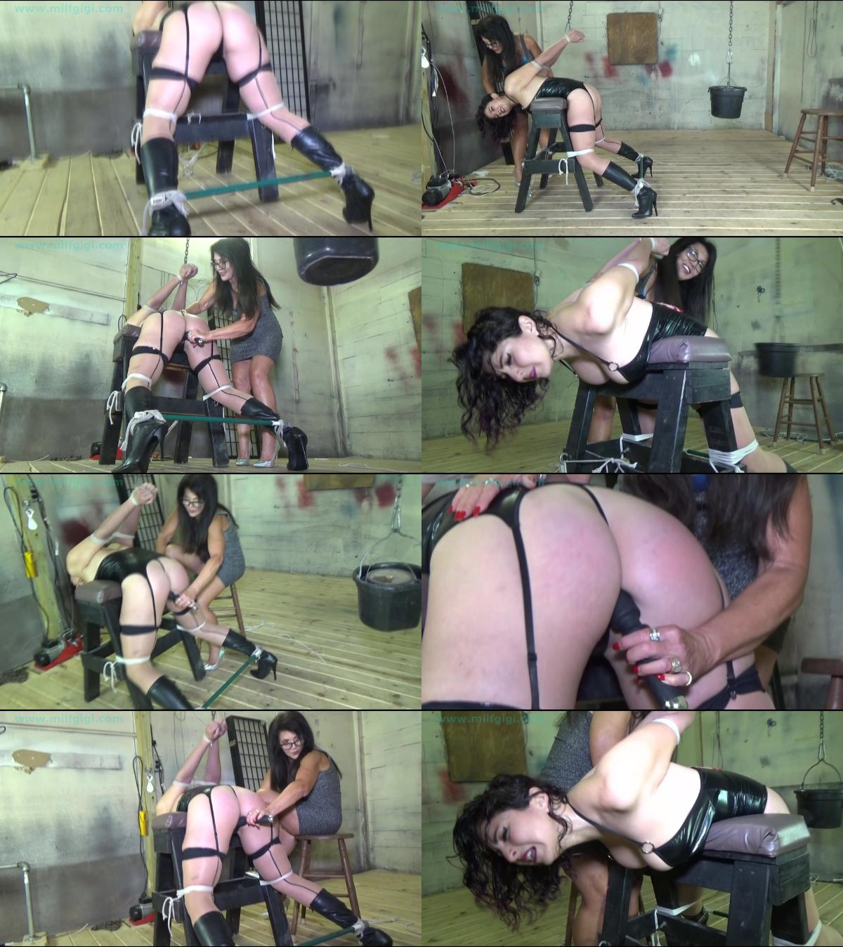 Weighted strappado forced orgasm for busty cuban